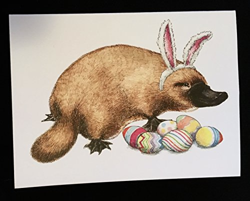 Easter Platypus card - Easter card with cute platypus wearing bunny ears