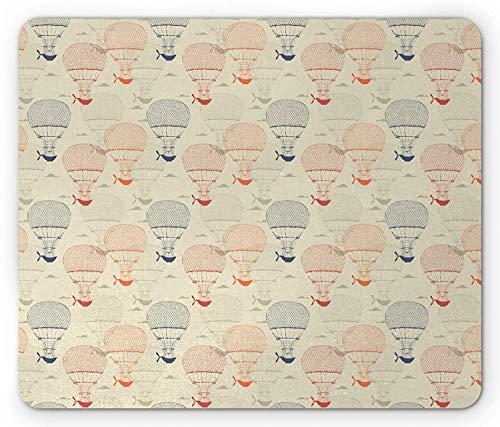 Hot Air Balloon Mouse Pad, Reizen Vliegtuigen Doodle Avontuur Nostalgische Pictogrammen Patroon, Rechthoek Mousepad, Beige Koraal Donker Blauw