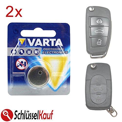 2 Stück Autoschlüssel Batterie passend für Audi A3 A4 A5 A6 A8 TT Klappschlüssel
