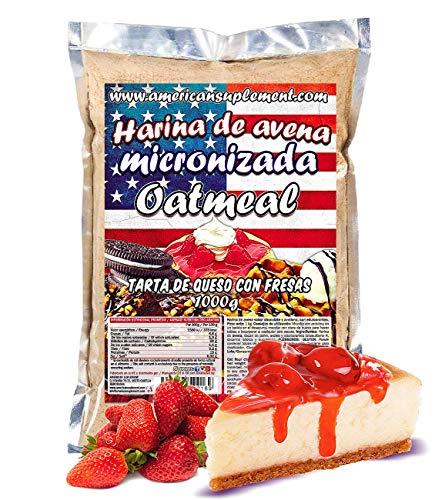 American Suplement - 1000 gr - Harina de Avena Integral, ideal para tortitas, batidos, bizcochos y magdalenas (TARTA DE QUESO CON FRESAS)