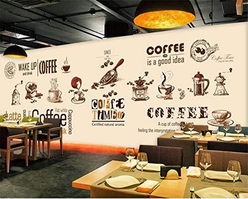 Tapete Handbemalte Europäische Und Amerikanische Kaffeetasse Kaffeestube Kaffeebohnen Hintergrundbild Wgop-250cmx175cm