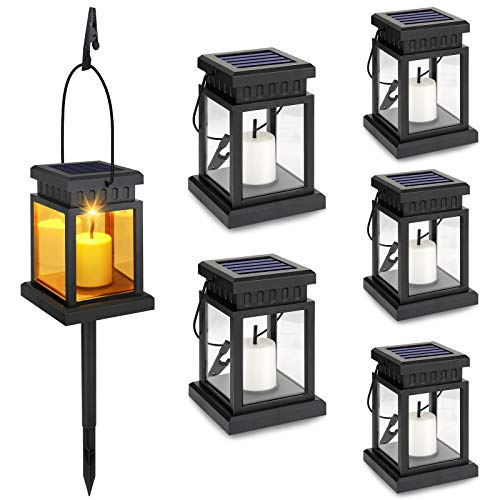 6-Pack Solar Hanging Lantern , Candle Flickering Flame Effect LED Solar Lights, Warm White, Decorative Lighting with Stakes for Patio, Garden, Lawn, Deck, Umbrella, Tent, Tree, Yard- Waterproof