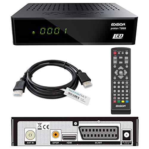 EDISION Proton T265 LED HD DVB/T2 & DVB/C Kabelreceiver inkl. TechnikRAT HDMI-Kabel 1,5 m HDMI & SCART/ H.265 HEVC