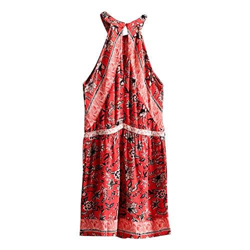 Superdry Clara Halter Playsuit Mono Corto, Rojo (Red AOP I6t), XXS (Talla del Fabricante:6) para Mujer