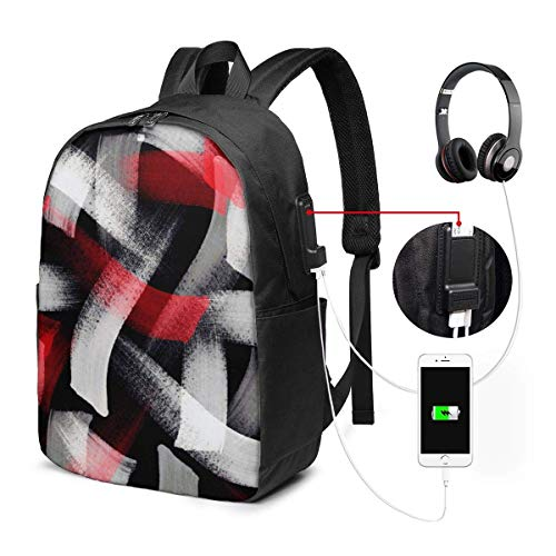 DJNGN Funny Red Gray Chalk Brushstrokes College Laptop Backpack Bag with USB Charging Port Computer Business Backpacks for Women Men School Student Casual Hiking Travel Daypack