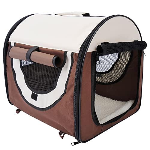 PawHut Hundebox faltbare Hundetransportbox Transportbox für Tier 2 Farben 5 Größen 61x46x51 cm, kaffeebraun-creme