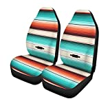Pinbeam Car Seat Covers Turquoise Orange Navajo White Stripes Pattern Mexican Serape Threads Set of 2 Auto Accessories Protectors Car Decor Universal Fit for Car Truck SUV