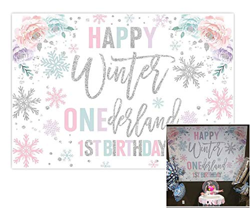 Allenjoy 7x5ft Winter Onederland Backdrop Newborn Baby Girls 1st First Christmas Holiday Birthday Party Candy Table Decor Banner White Snowflakes Photo Booth Background Pink Silver Event Decoration