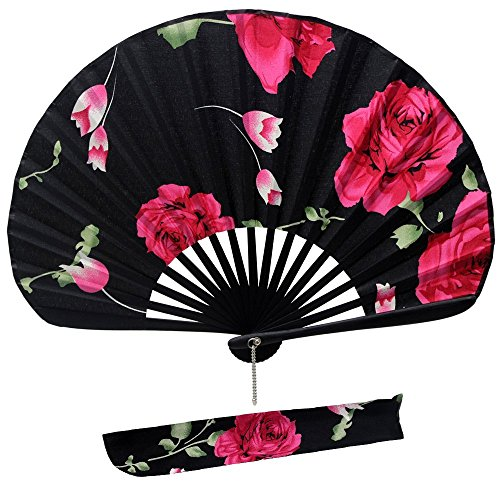Jsswb Handmade Black Shell Shaped Folding Fan with Rose