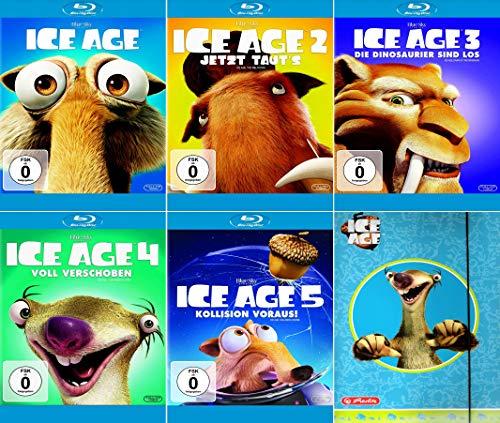 Ice Age 1 - 5 Collection (5er Blu-ray-Set) + einer Sammelmappe (Motiv Sid) Kein Box-Set
