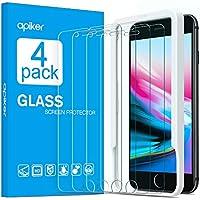 [4-Unidades] Apiker Cristal Templado Compatible con iPhone 7 Plus, 8 Plus(5.5 pulgadas), Vidrio Templado con Marco de Alineación para iPhone 7Plus, 8 Plus [Alta Definición] [9H Dureza][2.5d Borde]