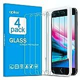 apiker [4-Unidades] Cristal Templado Compatible con iPhone 7 Plus, 8 Plus(5.5 Pulgadas), Vidrio Templado con Marco de Alineación para iPhone 7Plus, 8 Plus [Alta Definición] [9H Dureza][2.5d Borde]
