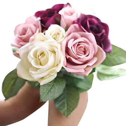 Hunpta @ 9 Köpfe Blumenstrauß Künstliche Rose Seide Blumen Blatt Kunstblumen Blumenarrangement Büro Haus Balkon Garten Hochzeit Party DIY Valentinstag Muttertag Deko Inneneinrichtungen