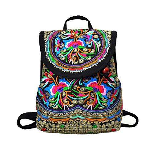 Xrten Mochila Étnica Mujer Casual Hippie Inca  Bolsa de Viaje Mochilas de Flores Étnicas