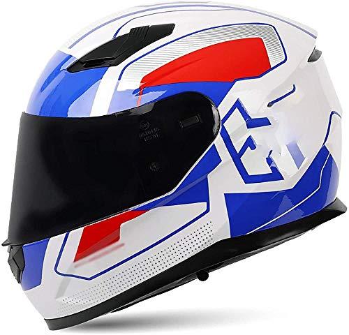 VERDELZ Casco de moto de cara completa con doble visor-ECE/DOT certificado cuatro estaciones motocicleta scooter bicicleta motocross casco para jóvenes adultos hombres mujeres 1_XL