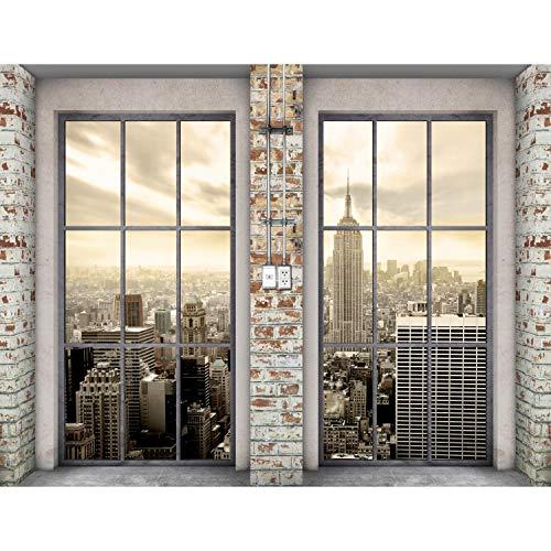 Runa Art Fototapete Fenster New York Modern Vlies Wohnzimmer Schlafzimmer Flur - made in Germany - Beige 9345010c