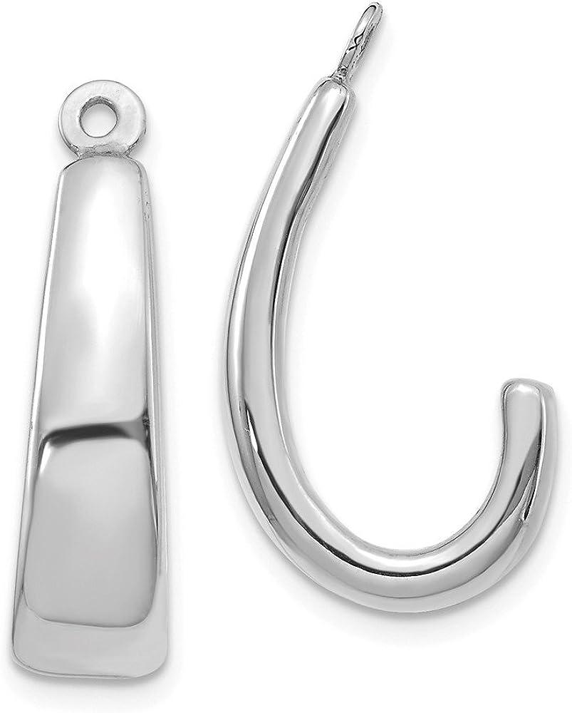 14k White Gold J Hoop Earring Jackets - 22mm x 6mm