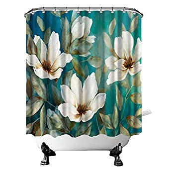 Nachic Wall Elegant White Flower Shower Curtains Waterproof Polyester Fabric Bath Teal Curtain Floral Washroom Decoration Set with Hooks 72x72inches
