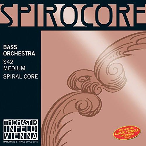 Thomastik Cuerda para Contrabajo 4/4 Spirocore - cuerda Sol núcleo flexible en espiral, entorchado cromo, afinación para orquesta, medio