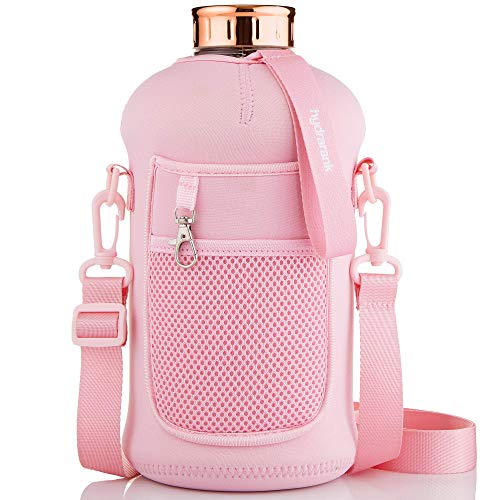 Half Gallon Water Bottle with Storage Sleeve & Straw Lid - BPA Free, Big Capacity, 74 ounce (2.2 Liter) Reusable Large Water Jug with Handle for Daily Hydration, Sports, Gym Bottles (Himalayan Pink)