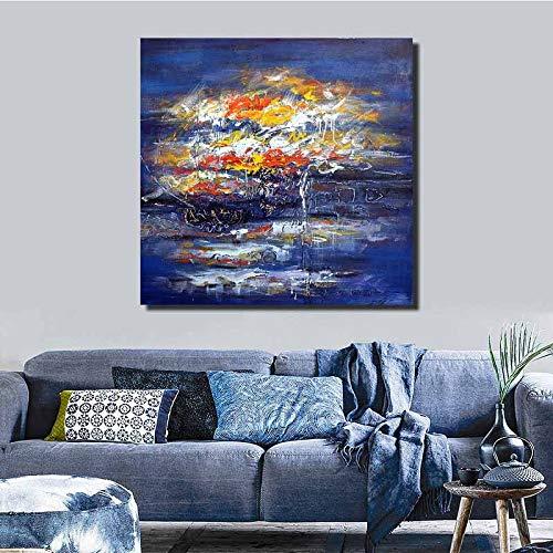 WSNDGWS Pintura al óleo Pintada Arte Abstracto Pintado Tarde en la Noche Pintura Decorativa del Valle