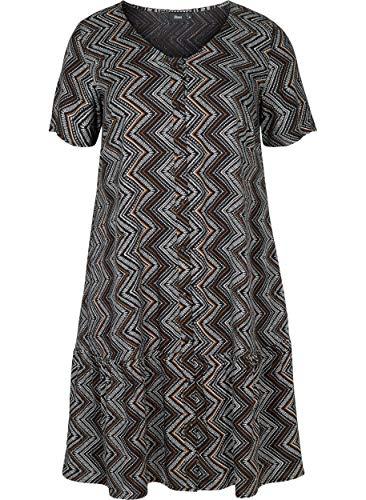 Zizzi Damen Große Größen Kurzarm Viskose Kleid mit V Ausschnitt Gr 42-56
