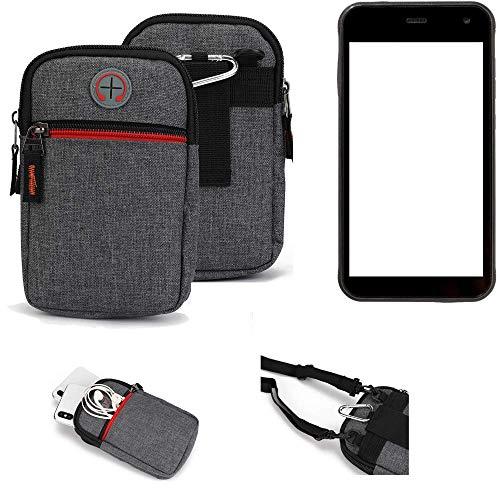 K-S-Trade® Gürtel-Tasche Für Cyrus CS 22 Handy-Tasche Schutz-hülle Grau Zusatzfächer 1x