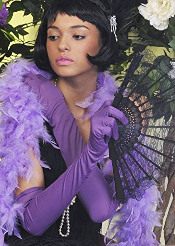 Struts Fancy Dress Mesdames années 1920 Flapper Girl Long Gants Lilas