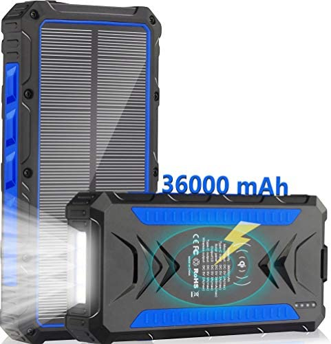 Solar Charger 36000mAh Qi Wireless Solar Power Bank Phone Charger Quick Charge Portable Charger product image
