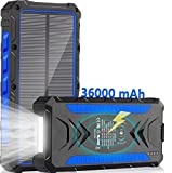 Solar Charger 36000mAh Qi Wireless Solar Power Bank Phone Charger, Quick Charge Portable Charger with 2 USB Output Ports & 2 Input Type-C/Micro USB Ports External Cell Phone (Venecian Blue)