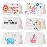 Kesote Set di 24 Biglietti d'auguri per Compleanno Biglietti di 6 Stili Carini Disegni d...