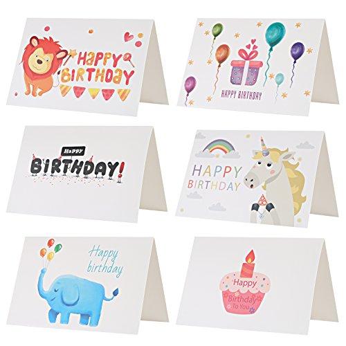 Kesote Geburtstagskarte Set, 24 Stück Happy Birthday Karte mit 24 Stück Umschläge für Kinder Geburtstag Party