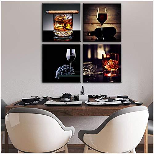 Modern Wall Art Canvas Prints voor Keuken Kamer Sigaren en Whiskey Wall Posters en Prints Rode Wijn Muurschilderingen Cuadros Decor-50x50cmx4pcs(geen Frame)