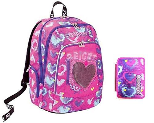 Seven - Mochila escolar Advanced Brightheart redonda fucsia con corazón + estuche de 3 pisos completo + llavero + 10 bolígrafos con purpurina