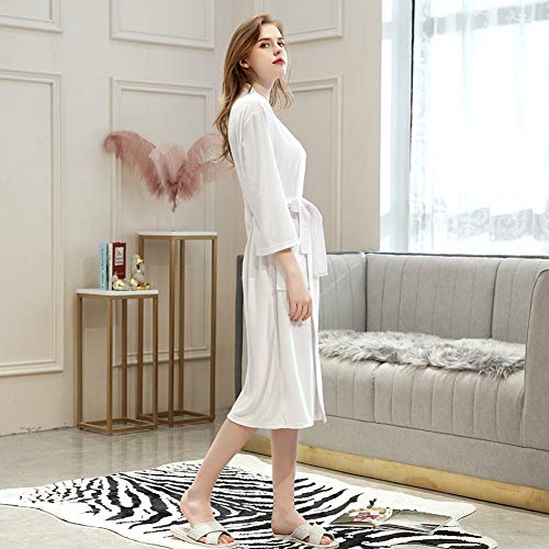 Hadishi Men And Women Spring And Summer Thin Pajamas, 100% Polyester BathrobeAbsorbent 3/4 Sleeve Pajamas-Nightgown,H,M