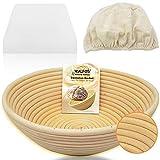 Walfos Banneton - Cestino per la fermentazione del pane, 22,3 cm, per pane e grattugia per impasti in rattan naturale, con panno di lino