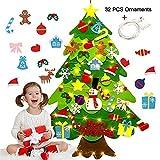 Cuttey - Árbol de Navidad de fieltro con 32 unidades de año extraíble con purpurina, regalo para niños de Año Nuevo a Mano Puerta de Navidad