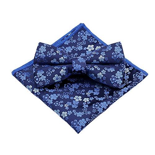 JUNGEN Pajarita y pañuelo para Hombres Pajarita con Estampado de Flores Vintage Conjunto de Pajarita de Elegante Regalo de decoración de Ropa de Hombre