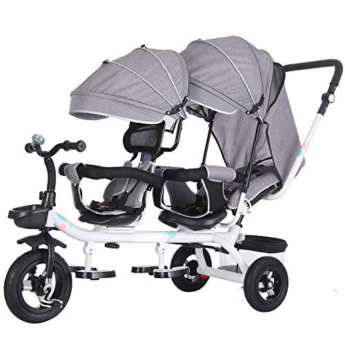 Kinderen Twee Wielen Fiets, Slip Driewieler Van De Baby Twin Kinderwagen, Kinderwagen Voor 1-7 Jaar Oud,Gray