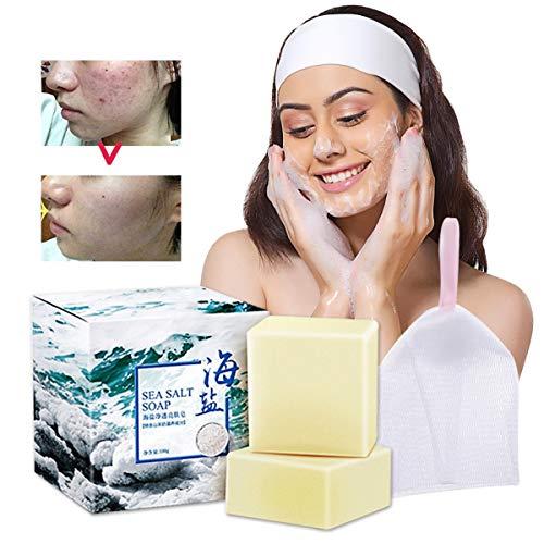 AJUMKER Meersalz Seife Hautpflege Seife Handgemachte Ziegenmilch Reiniger Gesichtsreparatur Pickel Porenentfernung Akne-Behandlung Feuchtigkeitsspendende Gesichtspflege Seife