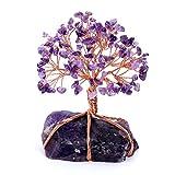 Jovivi - Pietra naturale per fai da te, albero della vita, guarigione, Reiki, guarigione, pietre energetiche, preziose, Feng Shui, casa, ufficio, decorazione con base, colore: grigio