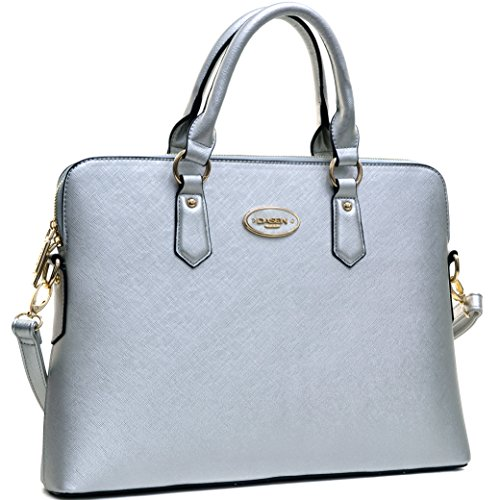 Women's Fashion Handbag Slim Shoulder Bag Tote Satchel Purse (Silver)