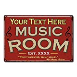 Personalized Music Room Sign Red Signs Vintage Tin Wall Art Décor Song Decorations Instrument Guitar Piano On-Air Plaque Him Her Gift 8x12 Metal 208120105001