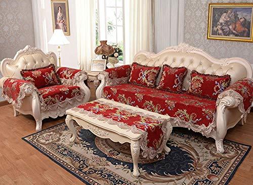 HXTSWGS Copridivano, Copridivano componibile Trapuntato, Love Seat reclinabile in Pelle a Forma di L, Copri Schienale del bracciolo-Rosso_90 * 90cm