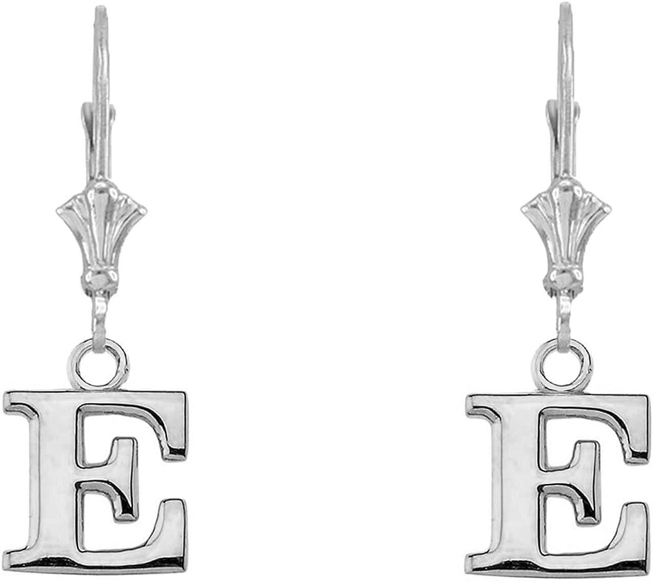 New Shipping Free [Alternative dealer] INITIAL EARRINGS IN 14K WHITE E Letters: GOLD -