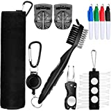 22 Pieces Golf Accessory Kit Include 1 Piece Golf Towel 4 Pieces Golf Marking Pen 2 Pieces Golf Line Marker 1 Piece Golf Brush 1 Piece Golf Tee Holder with 12 Pieces Golf Tee 1 Piece Golf Repair Tool