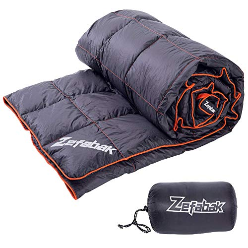 ZEFABAK Daunendecke für Camping Indoor Outdoor Puffy 600 Fill Power Duck Down Cloudlet Decke, 500g-136 * 210cm