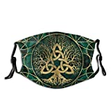 N/D Viking Celtic Tree Turquoise Reusable Cotton Dust Proof Unisex Mouth Masks Fashion Washable Masks, Print Pattern Cloth Balaclava Outdoor.