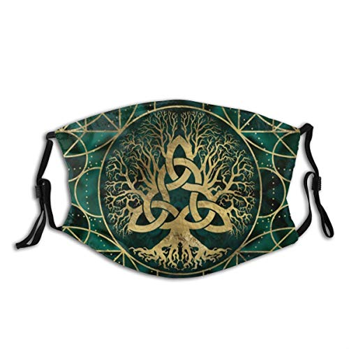 N/D Viking Celtic Tree Turquoise Reusable Cotton Dust Proof Unisex Mouth Masks Fashion Washable Masks, Print Pattern Cloth Balaclava Outdoor.