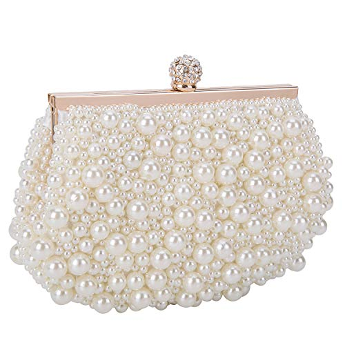 BAIGIO Cartera de Mano Fiesta, Clutch Mujer Blanco Bolso de Noche Perlas Bolso de Embrague para Ceremonia Boda Novia